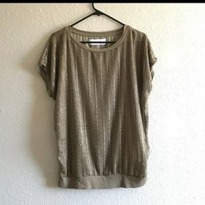 Zara Olive Green Semi Sheer Blouse Top